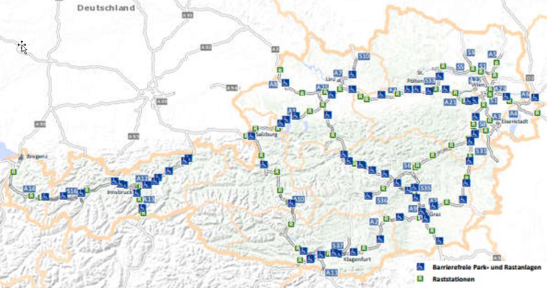 Landkarte Barrierefreie Rastanlagen
